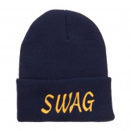 Urban Swag Embroidered Long Beanie - Navy