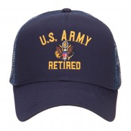 US Army Retired Military Embroidered Mesh Cap - Navy