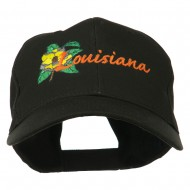 USA State Louisiana Flower Embroidered Low Profile Cap - Black