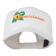 USA State Louisiana Flower Embroidered Low Profile Cap - White
