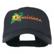 USA State Louisiana Flower Embroidered Low Profile Cap - Navy