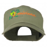 USA State Louisiana Flower Embroidered Low Profile Cap - Olive