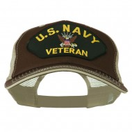 US Navy Veteran Military Patched Big Size Washed Mesh Cap - Brown Beige