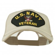 US Navy Veteran Military Patched Big Size Washed Mesh Cap - Putty Beige