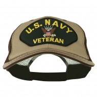 US Navy Veteran Military Patched Big Size Washed Mesh Cap - Khaki Brown