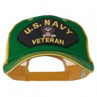 US Navy Veteran Military Patched Big Size Washed Mesh Cap - Kelly Gold