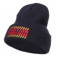 Caution Zombies Ahead Embroidered Long Beanie - Navy