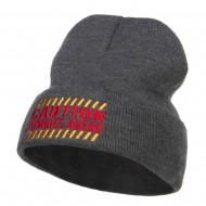 Caution Zombies Ahead Embroidered Long Beanie - Dk Grey
