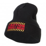 Caution Zombies Ahead Embroidered Long Beanie - Black