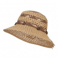 Straw Braid Coconut Beaded Bucket Hat - Natural