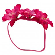 Triple Orchid Flower Headband - Fuchsia