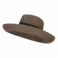 UPF 50+ Ribbon Band Upturned Brim Hat - Black Tweed