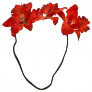 Triple Orchid Flower Headband - Red