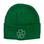 Irish Clover Embroidered Big Size Long Beanie - Kelly