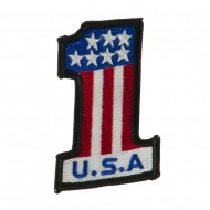 USA Flag Style Embroidered Patch - One USA