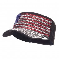 USA Flag Jewel Military Cap - Black