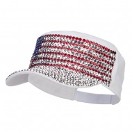 USA Flag Jewel Military Cap - White
