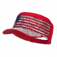 USA Flag Jewel Military Cap - Red