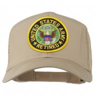 US Army Retired Circle Patched Mesh Cap - Khaki