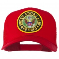 US Army Retired Circle Patched Mesh Cap - Red