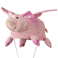 Pink Velvet Animal Hat - Pig with Flapping Wings