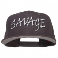 Savage Embroidered Cotton Snapback - Charcoal