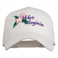 USA State West Virginia Flower Embroidered Low Profile Cap - White