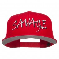 Savage Embroidered Cotton Snapback - Red