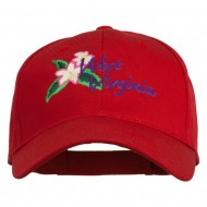 USA State West Virginia Flower Embroidered Low Profile Cap - Red