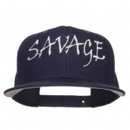 Savage Embroidered Cotton Snapback - Navy
