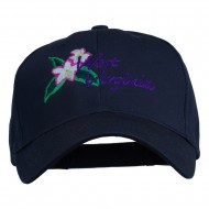 USA State West Virginia Flower Embroidered Low Profile Cap - Navy