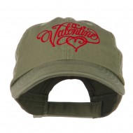 Valentine Heart Embroidered Cap - Olive