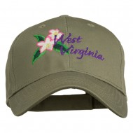 USA State West Virginia Flower Embroidered Low Profile Cap - Olive