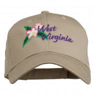 USA State West Virginia Flower Embroidered Low Profile Cap - Khaki