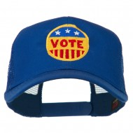 Vote Button Embroidered Mesh Back Cap - Royal