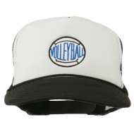Volleyball Embroidered Foam Mesh Cap - Black White