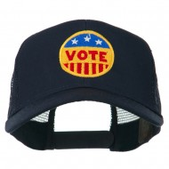 Vote Button Embroidered Mesh Back Cap - Navy