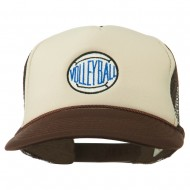 Volleyball Embroidered Foam Mesh Cap - Brown Tan