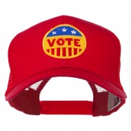 Vote Button Embroidered Mesh Back Cap - Red