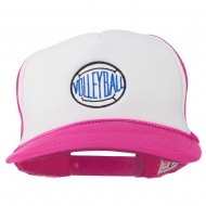 Volleyball Embroidered Foam Mesh Cap - Hot Pink White