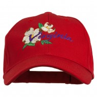 USA State Virginia Flowers Dogwood Embroidered Organic Cotton Cap - Red
