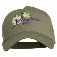 USA State Virginia Flowers Dogwood Embroidered Organic Cotton Cap - Olive