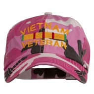 Vietnam Veteran Embroidered Enzyme Washed Cap - Pink