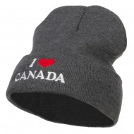 I Love Canada Embroidered Long Beanie - Dk Grey