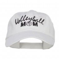 Volleyball Mom Embroidered Low Profile Cap - White