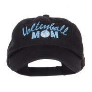 Volleyball Mom Embroidered Low Profile Cap - Black