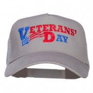 Veterans Day Embroidered 5 Panel Mesh Cap - Grey