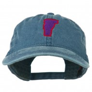 Vermont State Map Embroidered Washed Cotton Cap - Navy