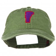 Vermont State Map Embroidered Washed Cotton Cap - Olive Green