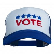Vote with Stars Embroidered Foam Mesh Back Cap - Royal White